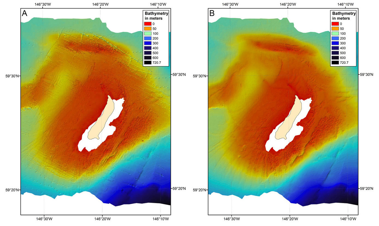 Left is (A) unedited and right is (B) edited bathymetry of the Middleton Island Submerged Marine Terraces.
