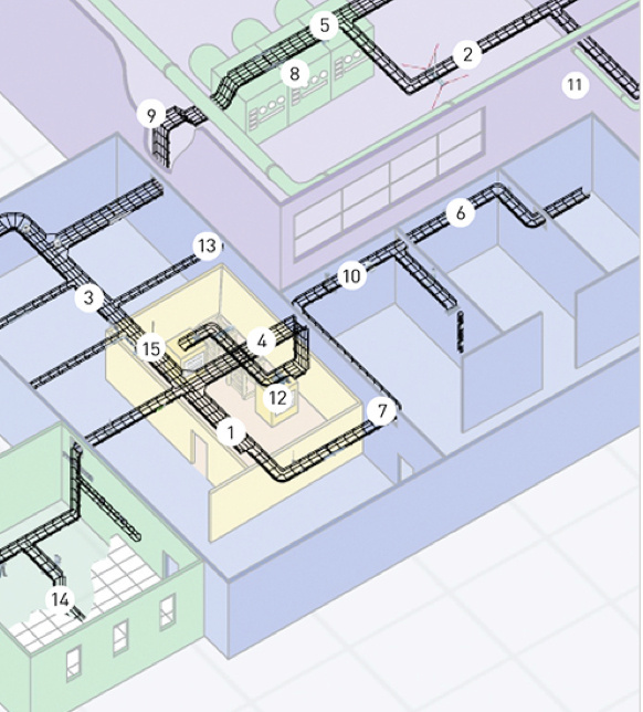 Birdseye view of building model with wire mesh tray numbered in key sections
