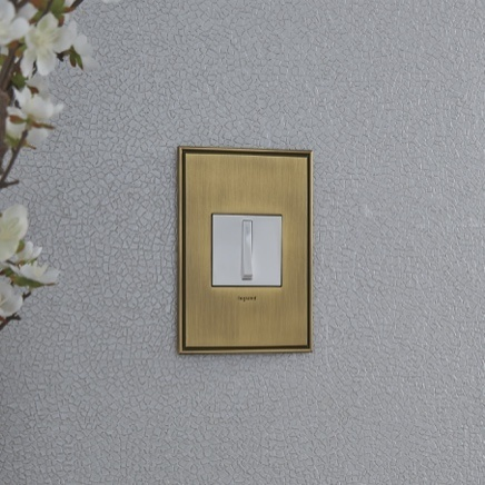 adorne Collection Whisper light switch in with in Brushed Satin brass designer wall plate