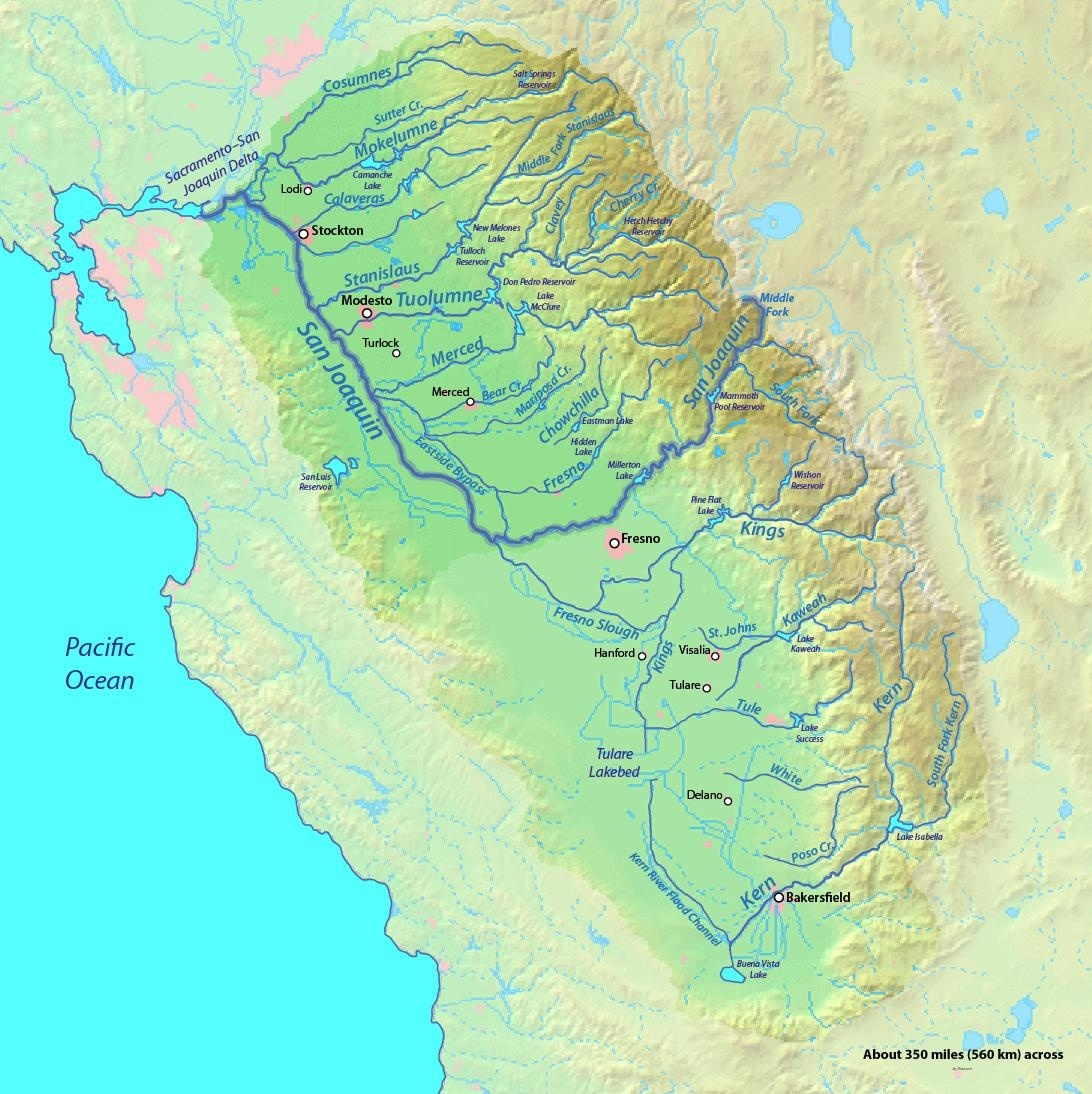Map of the San Joaquin River basin