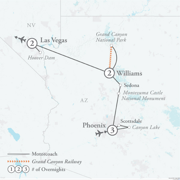 Tour Map for Best of the Southwest
