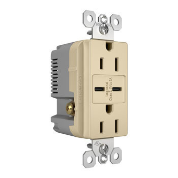 6.0A Ultra-Fast Type C/C USB Chargers with Duplex 15A Tamper-Resistant Outlet, Ivory