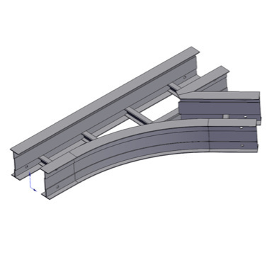 Cable tray 3D rendering of metallic horizontal fitting wye branch right section