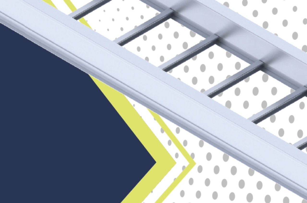Ladder tray rendering over textured blue, white, grey, and green background
