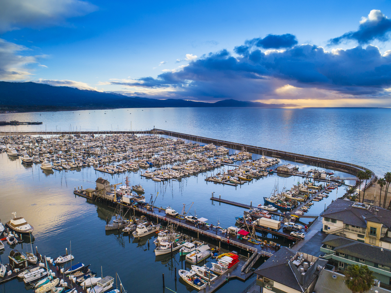 Aerial image of sunrise over the harbor, Santa Barbara, California. Credit: Getty Images.