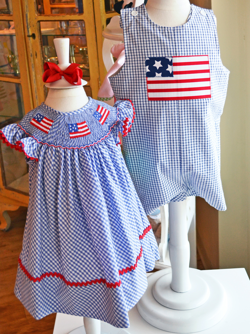 Fourth of July smocked clothes for kids