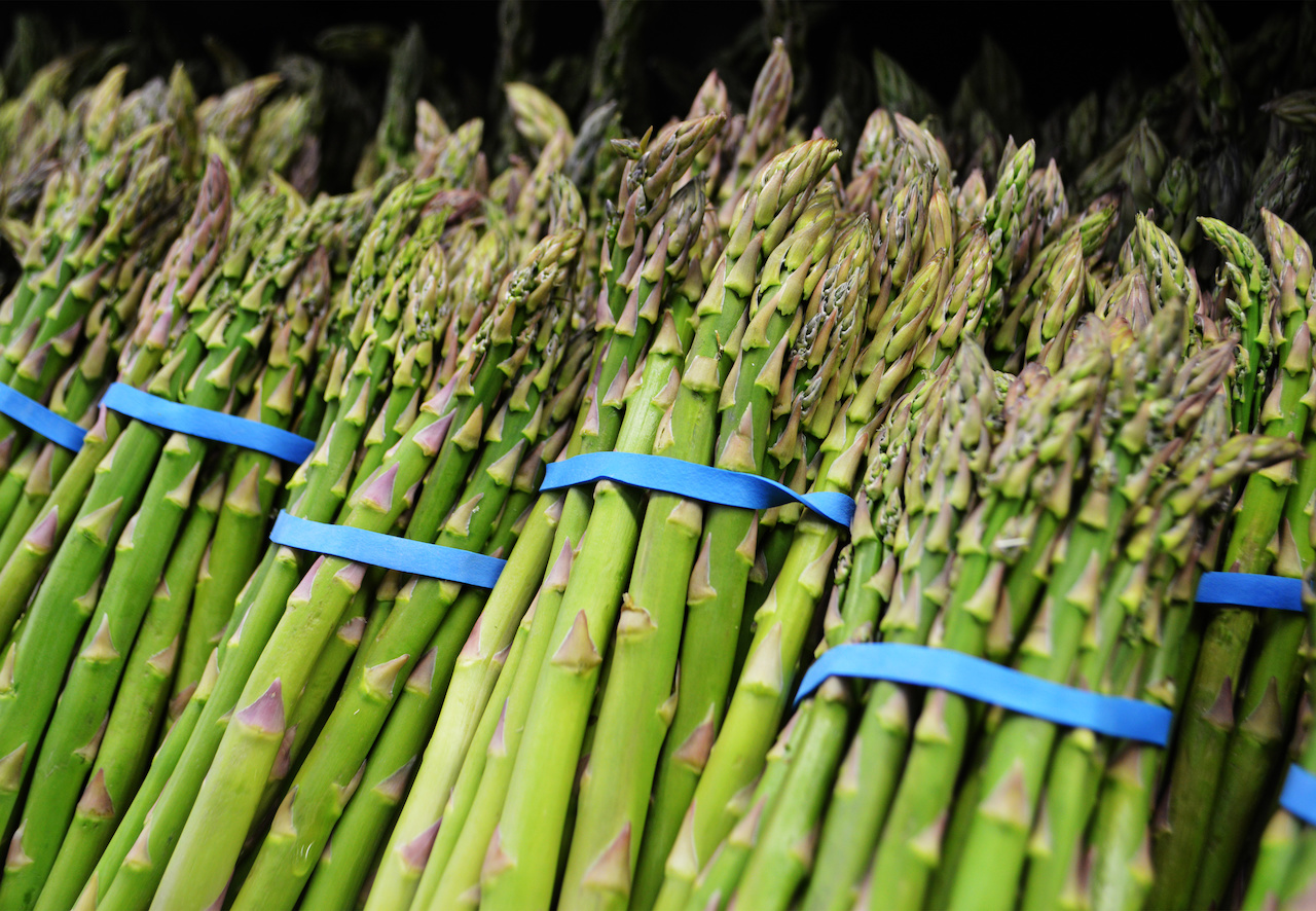 Lightly steam then chill fresh asparagus for pretty and delicious addition to the usual fresh vegetable tray. We found these beauties at Paul's.
