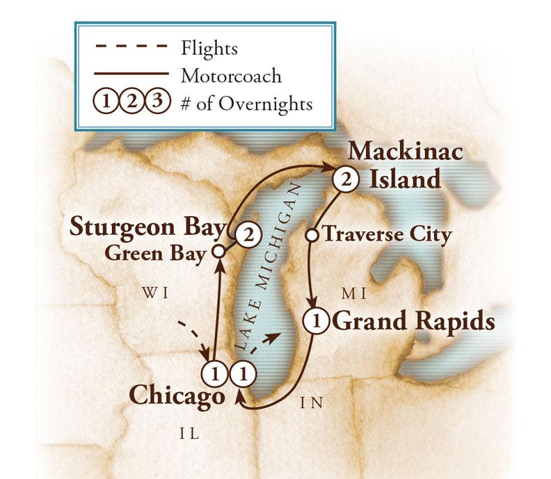 Tour Map for Lake Michigan Circle Tour