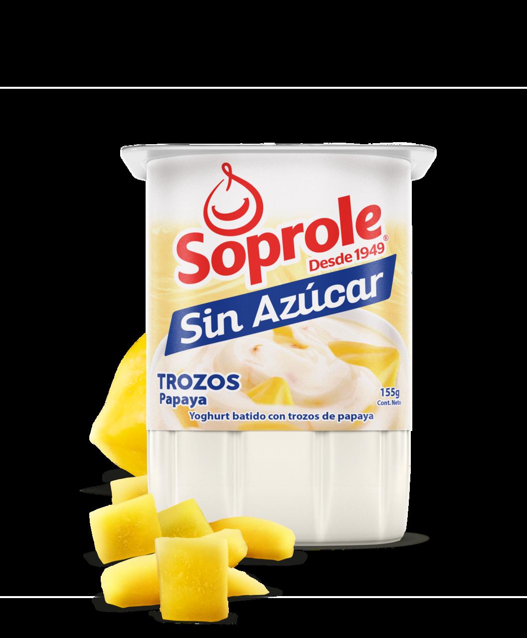 Soprole Yoghurt sin azúcar Trozos Papaya 155