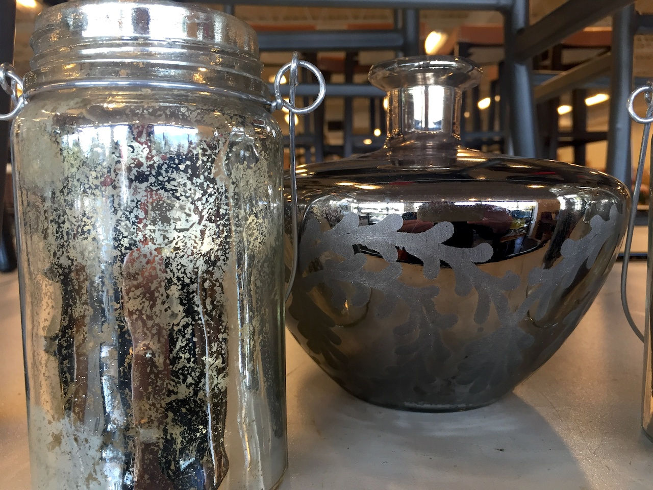 Mercury glass mason jar, $9.99 and Sienna vase, $21.99 from Pottery Barn Outlet