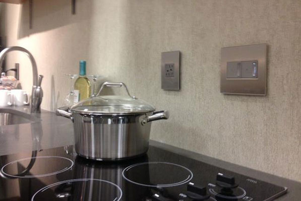 adorne Wall Plates and light switches in hotel kitchen