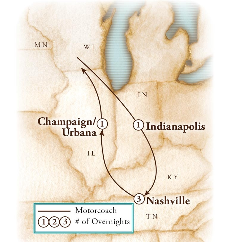 Tour Map for Nashville Country Christmas