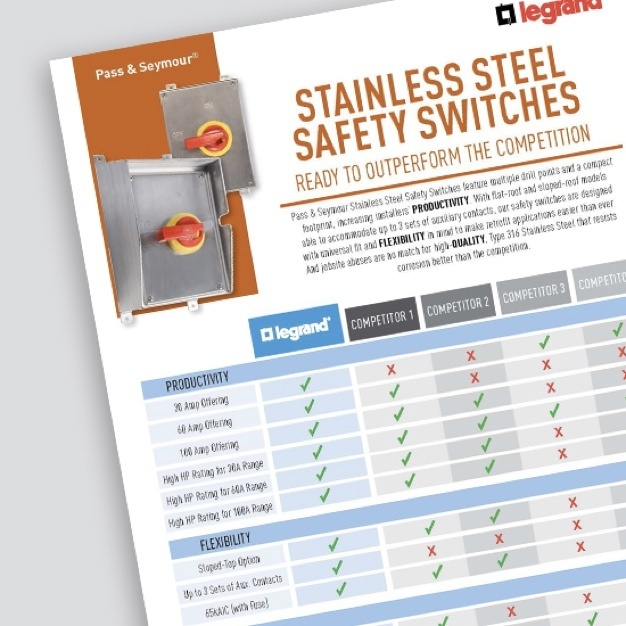 Page of comparison sheet on Stainless Steel Safety Switches