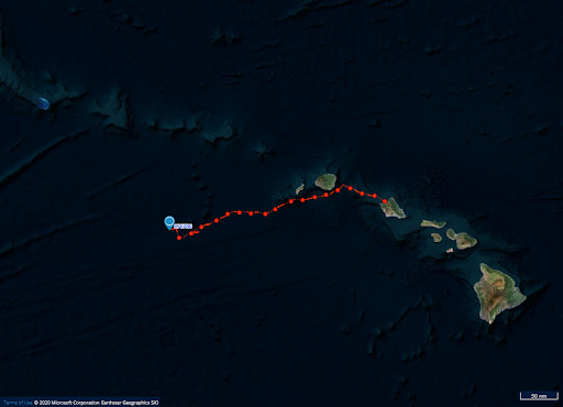 Map of Hawaii and tag track in red going west.