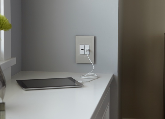 adorne Collection by Legrand half-size USB outlets with smartphone plugged in