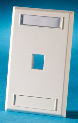 Single gang plastic faceplate, holds one Keystone jack or module, fog white, OR-KSFP1