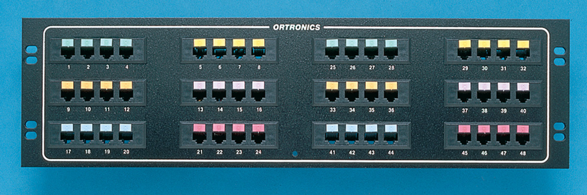 "48-port voice/data panel, std density, mod to 110, 19"" x 5.25"", OR-809004909"