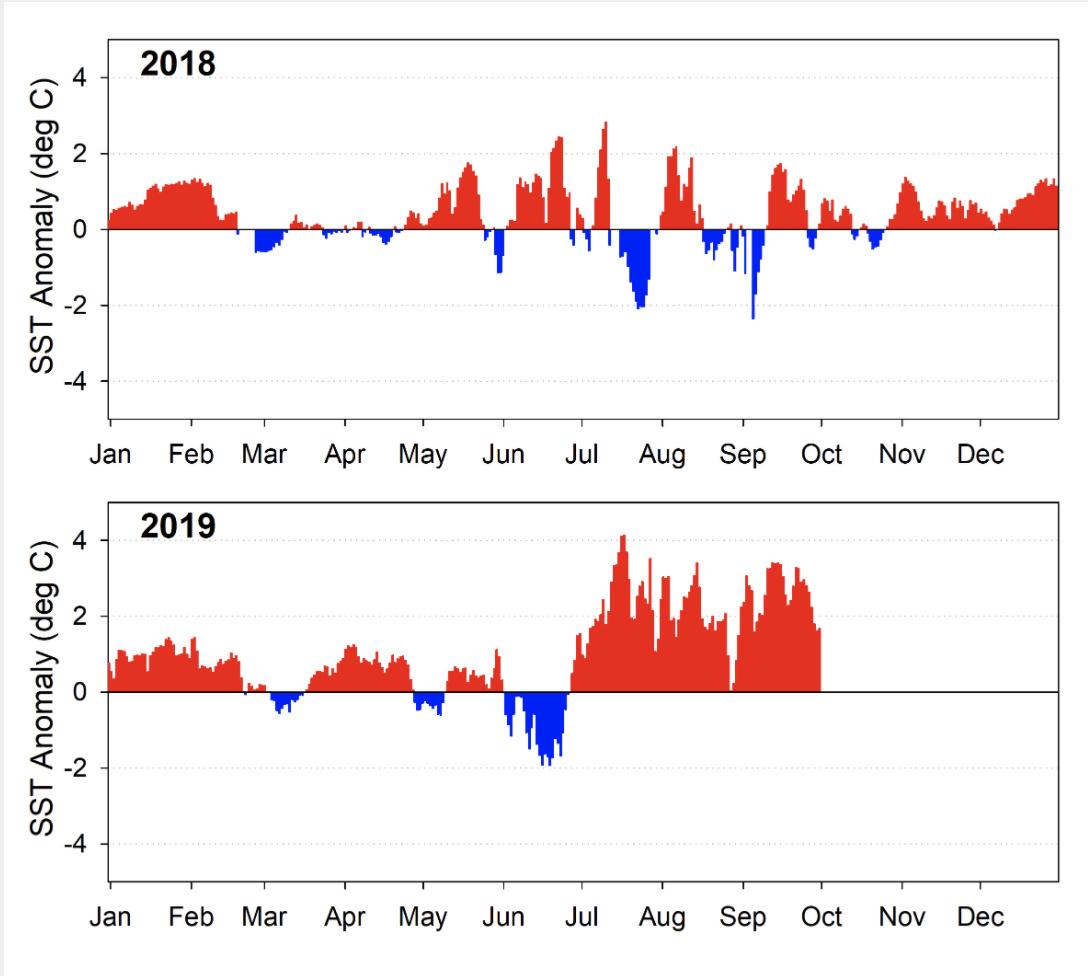 Figure TA-02. Daily sea surface temperature anomalies measured at seven NOAA Buoys located off coastal Oregon and Washington..jpg