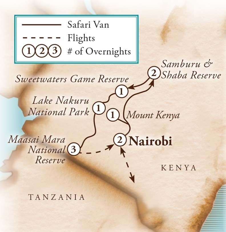 Tour Map for African Safari
