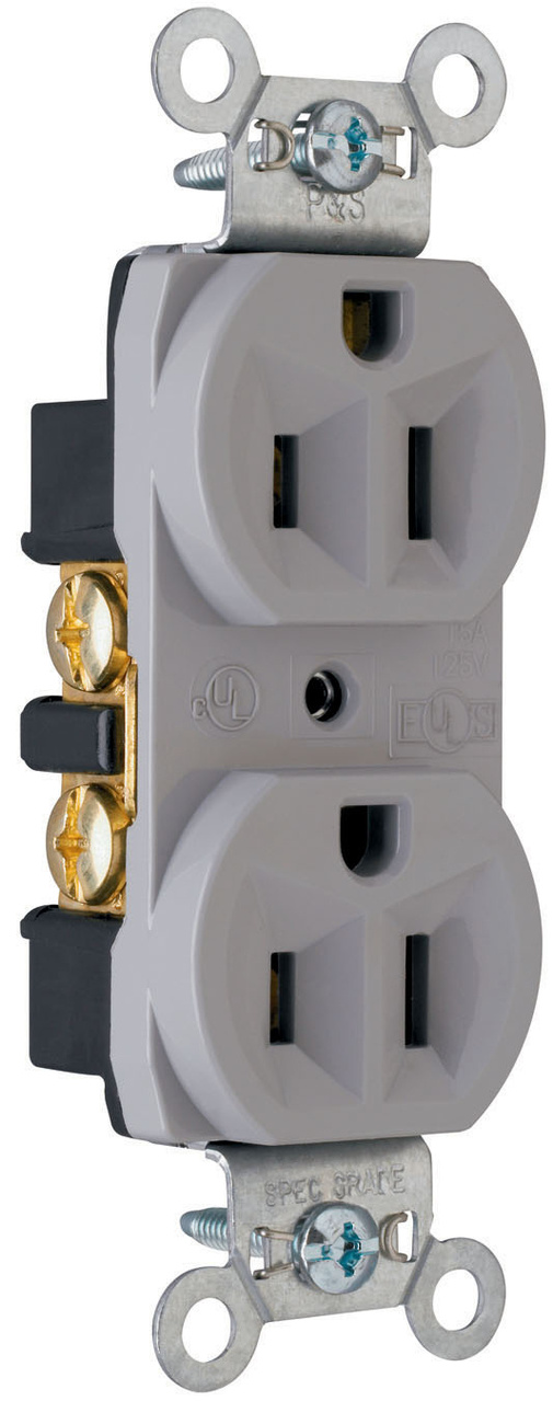 Construction Spec Grade Receptacles, Back & Side Wire, 15A, 125V, Gray