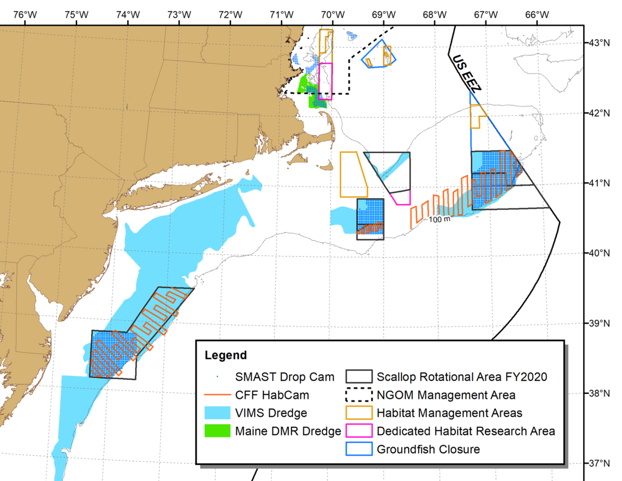 Chart showing the Northeastern coast of the U.S. and the areas of the ocean off the coast where research set-aside projects will survey the ocean bottom for sea scallops