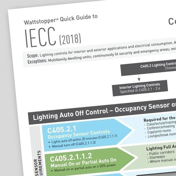 Front page of the IECC 2018 Quick Guide from Wattstopper over a grey background