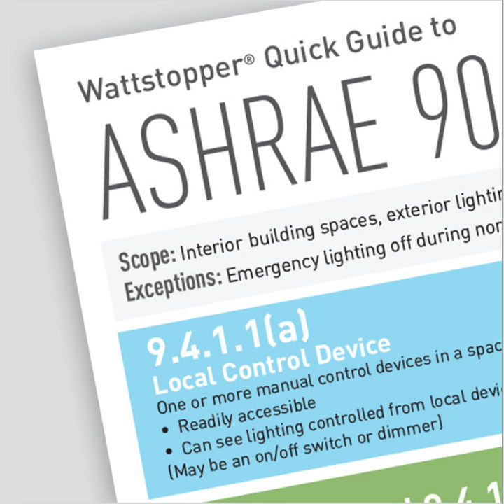 Front page to Wattstopper's ASHRAE 90.1 (2013) Quick Guide in front of a grey background