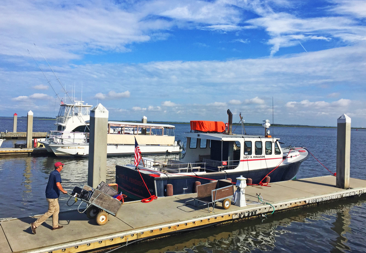 Guests to the Greyfield drop their luggage off at the dock in Fernandina Beach, Florida, then hop on the 40-minute ferry provided by the inn.