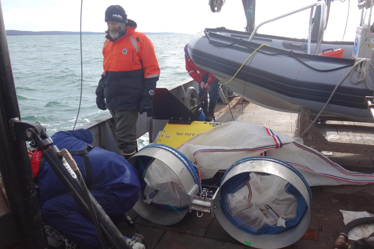 Harvey inspecting the bongo nets.