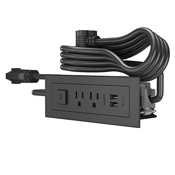 Furniture Power 2-Outlet with Switching and USB-A Unit- Black