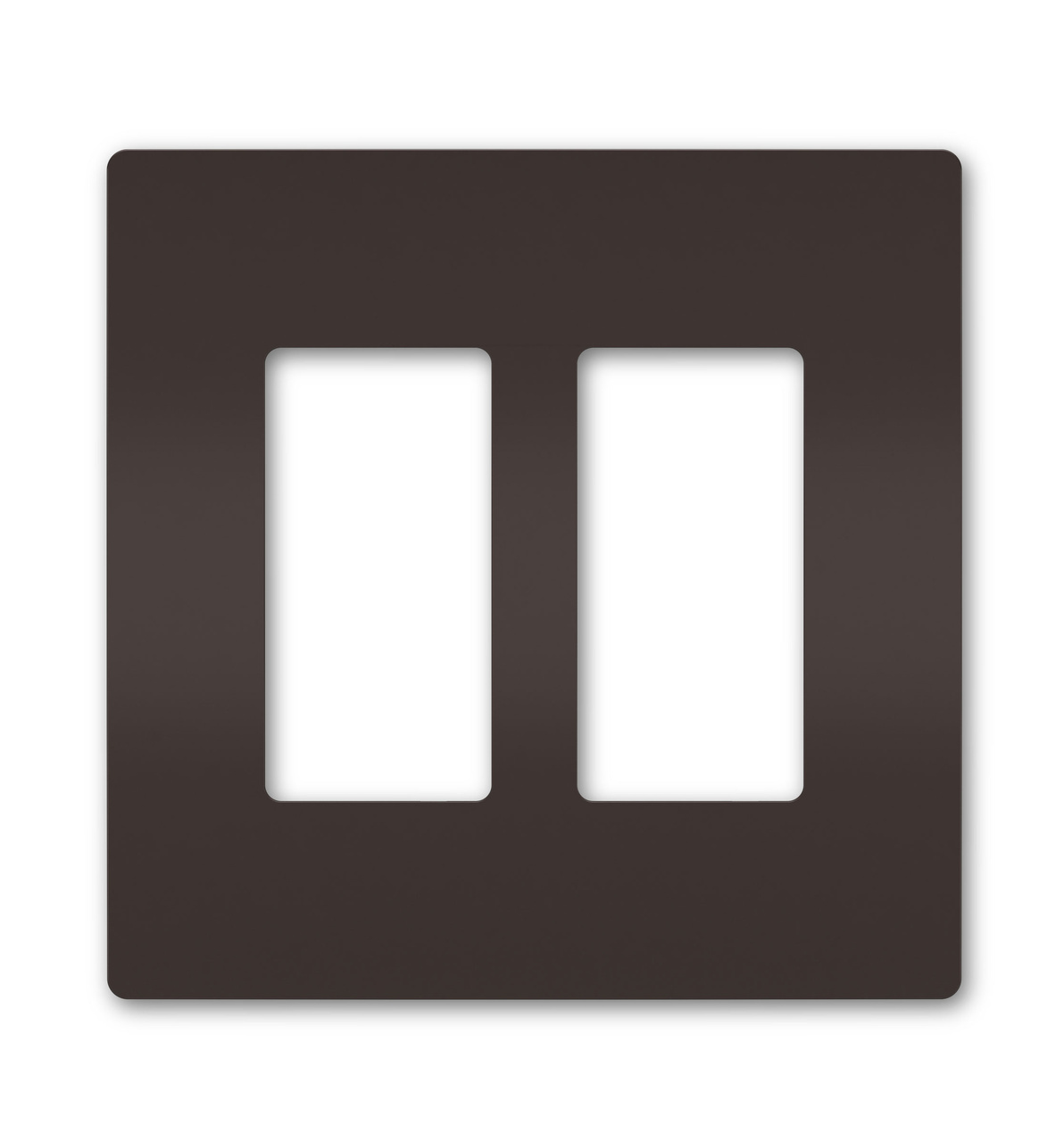 Two-Gang Screwless Wall Plate, Brown