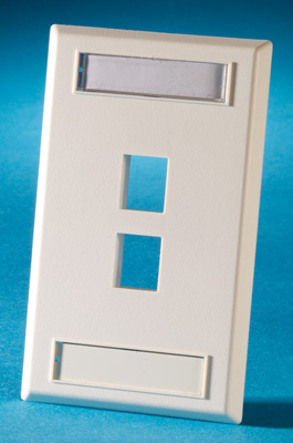Single gang plastic faceplate, holds two Keystone jacks or modules, fog white, OR-KSFP2