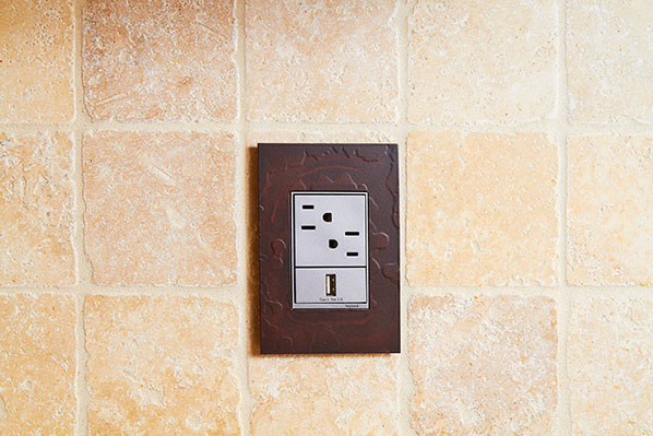 adorne Hubbardton Forge Mahogany Wall Plate with tamper resistant outlet and USB outlet
