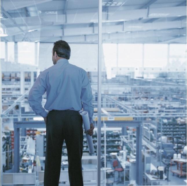 Man overlooking industrial plant floor