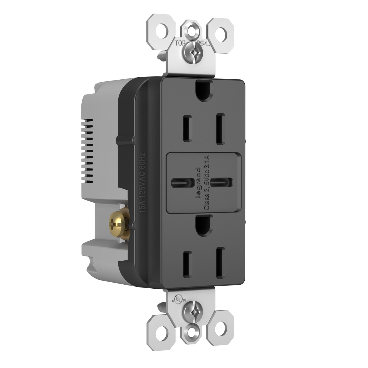 Type C/C USB Chargers with Duplex 15A Tamper-Resistant Outlet, Black