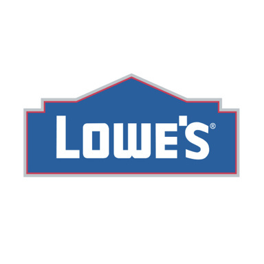 Lowe's logo with blue house background and white text