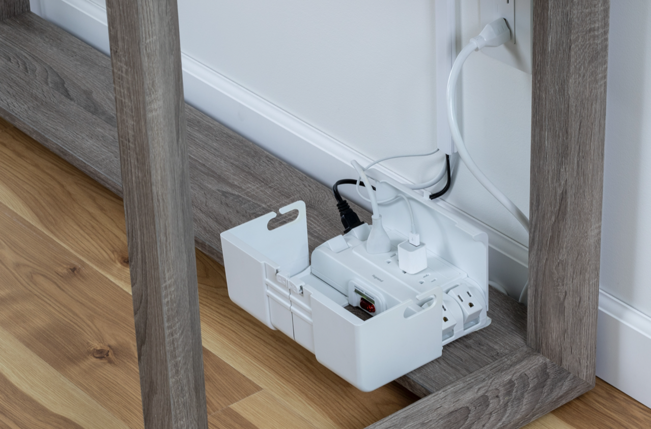Powered Cable Management Box below desk