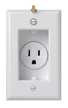 Clock Hanger Receptacles, Recessed with Smooth Wall Plate, 15A, 125V, White