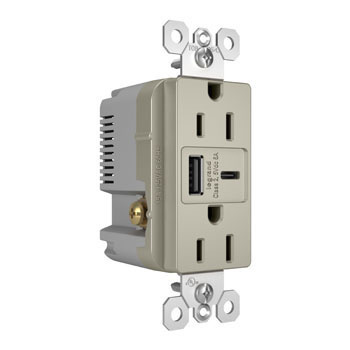 6.0A Ultra-Fast Type-A/C USB Charger with Duplex 15A Tamper-Resistant Outlet, Nickel