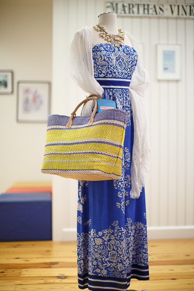 FromVineyard Vines: Strapless floral scarf maxi dress, $248; linen lurex scarf with metallic detailing, $98; shell and bead necklace, $125 and a nautical stripe tote bag, $148