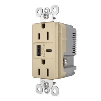 6.0A Ultra-Fast Type-A/C USB Charger with Duplex 15A Tamper-Resistant Outlet, Ivory