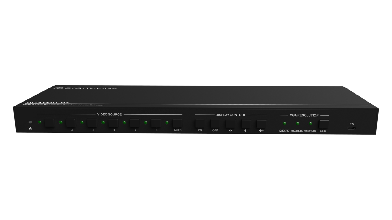 DL-AS61U-H2 - 6x1 Presentation Auto Switcher features HDMI, DP, VGA, & USB-C Inputs