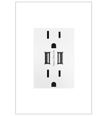 Dual USB, Plus-Size Combo Outlet, White
