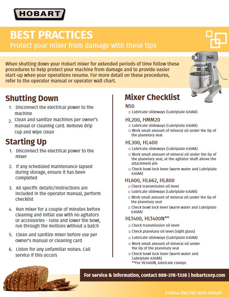 Mixer Checklist