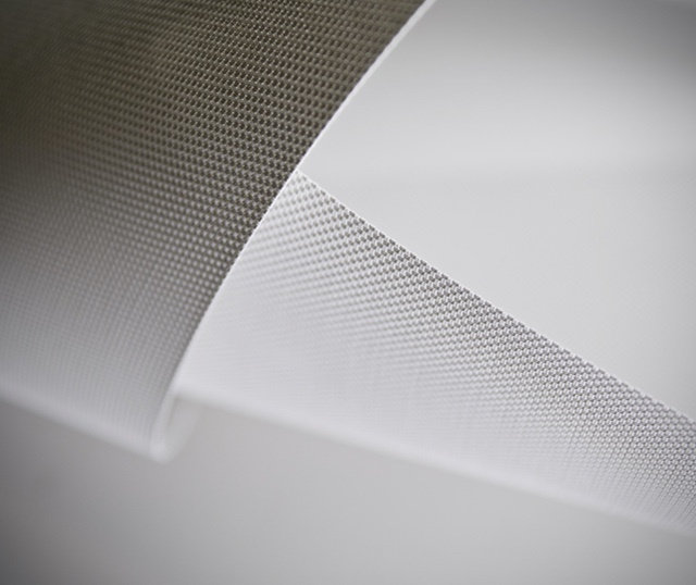 Close up of light-colored shading fabric