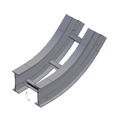 Cable tray 3D rendering of metallic vertical fitting elbow inside 45 degree section