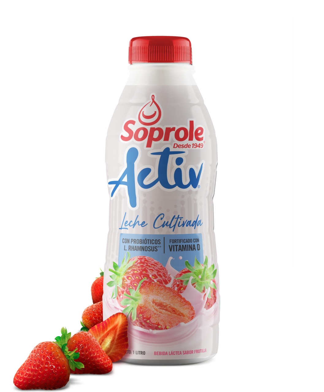 Soprole Activ Leche cultivada Frutilla 1L