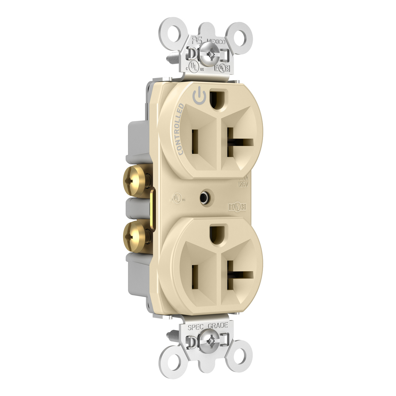 20A, 125V Half-Controlled Plug Load Controllable Receptacle, Ivory