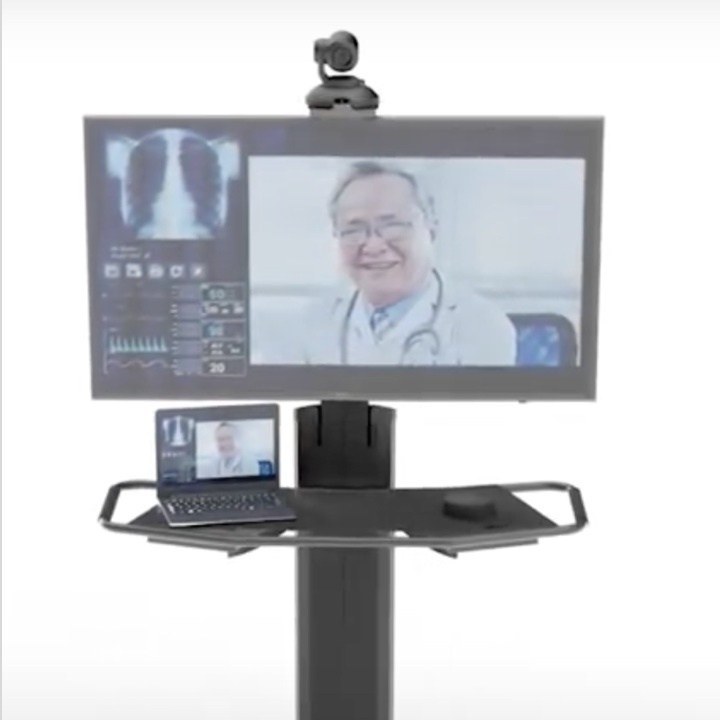 Virtual healthcare pole showing benefits of being able to provide remote, virtual healthcare to patients.
