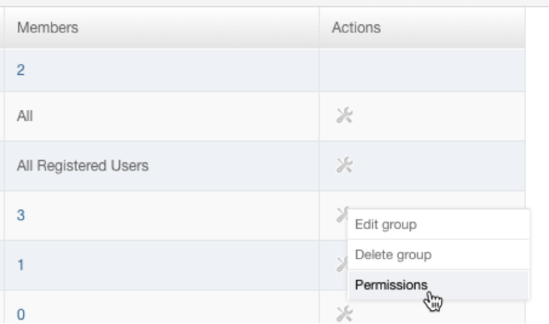 Selecting Permissions for a group